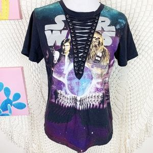 Star Wars v neck laced front graphic tee Small